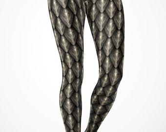 Bronze Dragon Scale Women's Dragon/ Mermaid Scale leggings- Yoga Leggings/ Yoga Pants