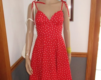 Womens Dress-Sundress-Red & White Polka Dot  Sundress ~Spaghetti Strap Ties- Women's Hand made  Sundress