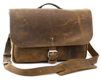 """NEW - 14"""" Distressed Tan Courier Mail Bag - Laptop Bag"""