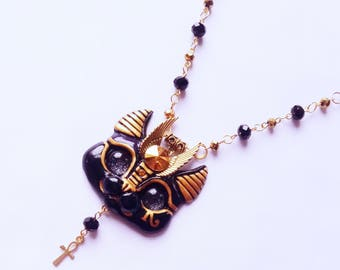 Black Egyptian Sphinx Cat Necklace with Golden gem