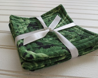 Set of 4 Quilted Coasters - Kale