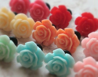Mini Beach Flower Plugs for Gauged Ears, sizes 2g, 4g, 6g, regular earrings, 6mm, 5mm, 4mm CHOOSE YOUR COLOR, One (1) Pair, Lavender, Coral