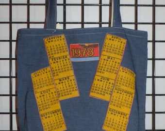 handmade denim tote bag lightweight calendar 1978 vintage double orange