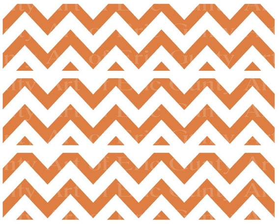 Orange Chevron Birthday - Edible Cake Side Toppers- Decorate The Sides of Your Cake! - D22931