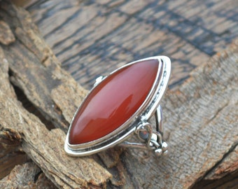 Red Onyx Gemstone Ring, 925 Sterling Silver Ring, Birthstone Gift Ring ,Bezel Work Ring, Large Marquise Red Onyx Gift Ring, Designer Ring