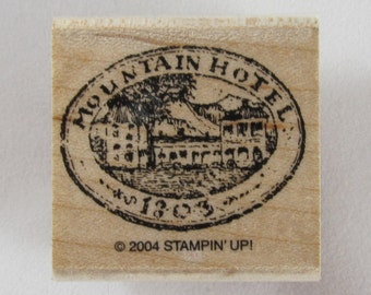 DOLLAR SALE - Stampin Up! - Mountain Hotel Rubber Stamp #RS163.25
