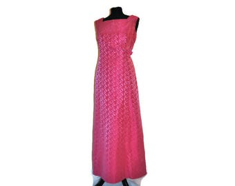 1960's Pink Maxi Dress by Carnegie of London // Pink Evening Dress Empire Line  UK 16 US 14