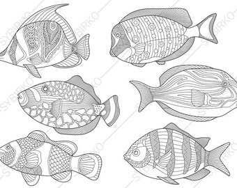 Tropical Fishes. 6 Coloring Pages. Animal coloring book pages for Adults. Instant Download Print