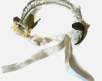 Vintage 1920s Wax Orange Blossom Wedding Headband Tiara Headpiece