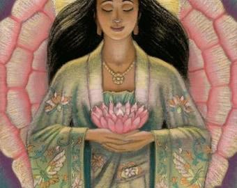 Kuan Yin Lotus Buddha art poster Goddess Buddhist meditation spiritual healing print of painting by Sue Halstenberg
