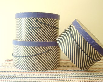 Vintage hatbox set, 3 nesting boxes in classic navy blue & white stripe with navy satin cords. boudoir decor, bedroom storage, hat box set