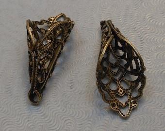 LuxeOrnaments Oxidized Brass Filigree Cone Bead Cap 26x9mm (1 pc) U338A-VJS-B