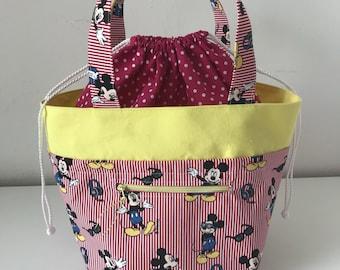 Mouse project bag,  Knitting project Bag, Crochet bag, shawl Project bag, knitting bag, crochet bag, Yarn bag, Medium knitting bag
