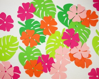 Luau Party Decoration, Leaf Cutouts, Flower Confetti, Tropical Table Decor