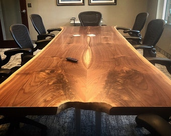 Live Edge Conference Table Black Walnut | Contemporary Dining Table | Rustic Industrial Steel Legs | Custom Made Bookmatched Office Table