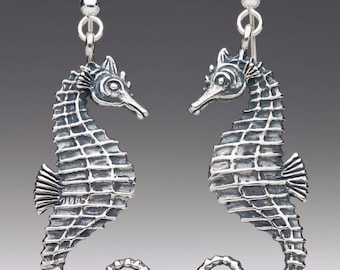 Seahorse Earrings Silver Seahorse Jewelry Silver Seahorse Seahorse Charm Sea Life Jewelry Beach Lover Surfer Girl Gift