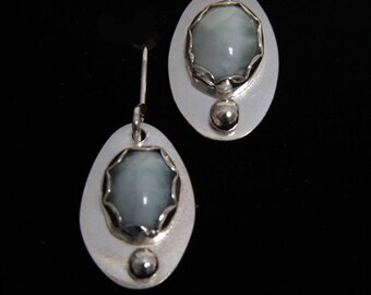 sterling silver earrings with larimar stone and one silver pebble
