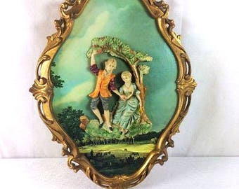Italian Frame With Wall Figures Rococo Style Frame Vintage Made In Italy Frame