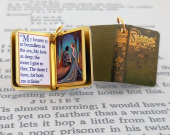 Romeo and Juliet by William Shakespeare - Miniature Book Shaped Charm Quote Pendant - for charm bracelet or necklace. Custom available!