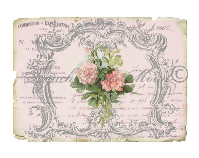 Romantic French Rose Digital Image, Botanical Collage, Wedding, Vintage French Graphics