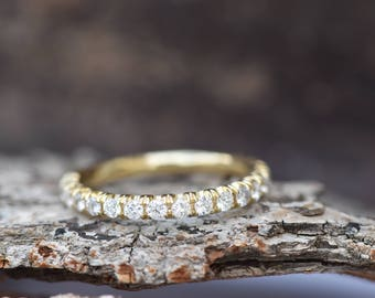 Diamond Eternity Wedding Band-Diamond 1/2 carat wedding band-Wedding band yellow gold -Diamond Band-Half eternity Ring-Art deco wedding band