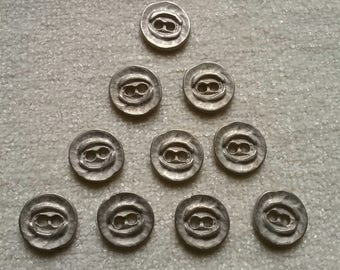 10 x Steel Metal Effect Buttons 2-hole 15mm, jewellery, steampunk