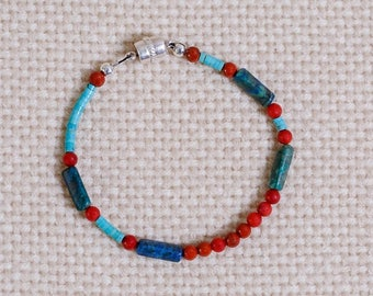 Multi-gemstone beaded bracelet of turquoise, red jasper,blue-green azurite , sterling silver magnetic clasp and findings