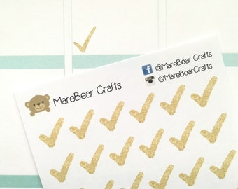 36 Gold Check Mark Stickers! Perfect for your Erin Condren Life Planner, Filofax, Plum Paper & other planner or scrapbooking!