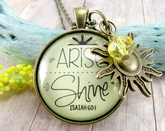 Arise and Shine, Rise, Shine, Bible Verse Scripture Pendant Sun Necklace Inspirational Boho Encouragement Sunshine Gift For Her on Mondays