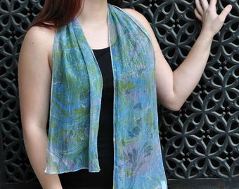 Hand Painted Elegant Silk Scarf with Blue, Greenery and Purple Marbling Paints Made in Asheville NC MM #17dm
