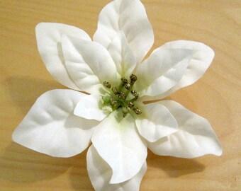Ivory White Gold Star Poinsettia Poly Silk Flower Hair Clip