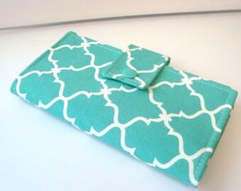 Fabric Checkbook Cover, Holder -  Lattice Turquoise Quatrefoil