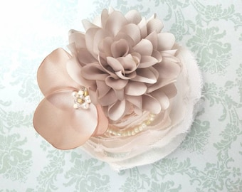 Champagne Flower Hair Clip or Headband- Flower Girl Hair Accessories-Perfect Flower Girl Gift for Weddings-Holiday Hair Clips-Photo Prop