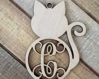 Monogram Cat Christmas Ornament - Laser Cut Natural Wood Christmas Ornament - Personalized Kitty Cat Ornament - Kitty Cat Ornament - Pet