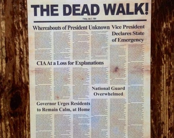 The Dead Walk Zombie Newspaper Prop A3 Size Replica Prop Print - Day of the Dead