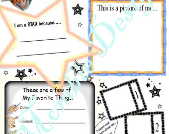 """Coloring Page, pdf Instant Download Kid Questionnaire About Me """"KIDS LOVE THESE"""" Inspirational Uplifting activity get acquainted group class"""