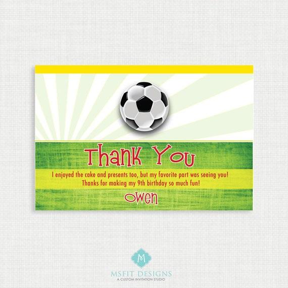 Printable Birthday Invitation Soccer Thank You