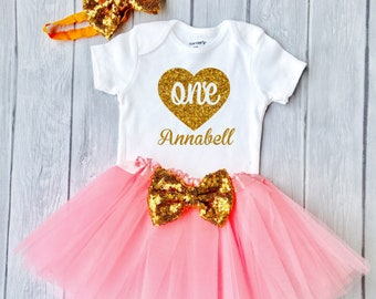 1st birthday girl outfit, 1st birthday outfit Baby Girl First Birthday Outfit Pink and Gold Birthday, Cake Smash Outfit, One Cake Topper