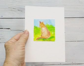 Yellow cat painting, cat memorial, cat mini art, fits in a 5x7, art gift, cat love art, cat loss, celebration of cat life,  cat fun art