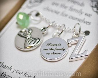 Personalized Friendship Necklace with Birthstone and Initial - FR6 - Friendship Necklace - Pinky Swear Necklace - Pinky Swear Charm