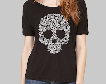 Scoop Neck Tee Skull Skull Shirt slouchy tee dolman top slouchy shirt dolman sleeve top womens tops tshirt scoop neck