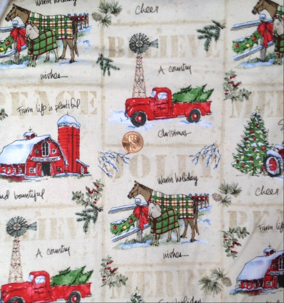 A Country Christmas Tractor Barn Horse Farm Fabric100 CottonFat Quarter FQ Or Half Yard From 2PlumpPigs On Etsy Studio