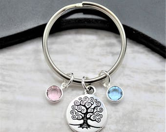 Family Tree Birthstone Keychain - Mother's Day Keychain - Personalized Birthstone Keychain for Mom - Mom Keychain - Family Keychain for Mom