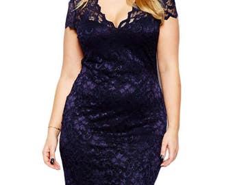 Plus Size Dress. Navy Blue Scalloped V-neck Lace Plus Size Midi Dress. Women Plus Size Dress, Casual Plus Size Dress, Women's Dress.