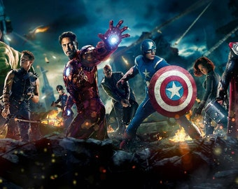 MARVEL AVENGERS ASSEMBLE Superhero Movie Colourful Wall Art Canvas Picture Print Various Sizes Thor Captain America Iron Man Hulk