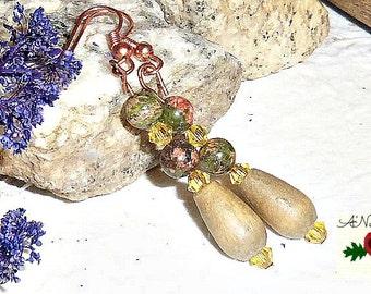 "Tribal Earrings: Handmade  Unakite, Copper, Wood, And  Canary Yellow Swarovski Crystals ""Elegant"""