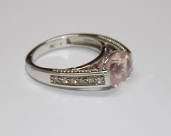 Morganite and Champagne Diamond Ring in Sterling Silver