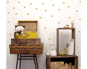 Gold Heart Wall Decals, Nursery Heart Wall decals, Gold Heart vinyl Wall Stickers