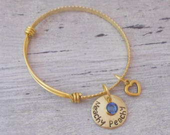 Personalized Name Bracelet, Personalized Name And Birthstone Bracelet, Personalized Gold Bangle Bracelet, Name Bracelet, Name Jewelry