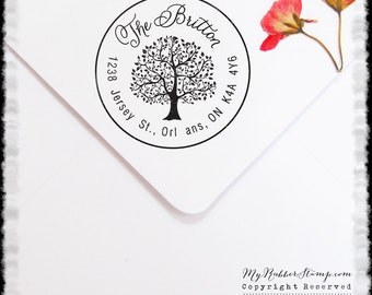 Reserved Listing for caitiecollis Tree Personalized Pre-inked Stamp (Self Inking Stamp) Wedding Stamp, RSVP, Business Stamp (P1015R)